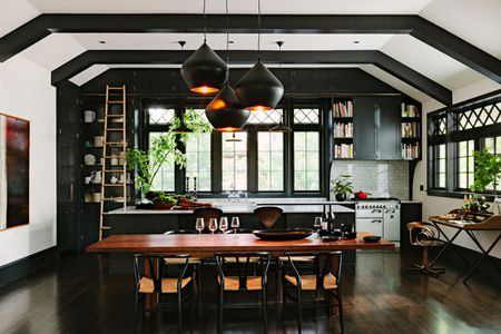 black kitchen with black cabinets