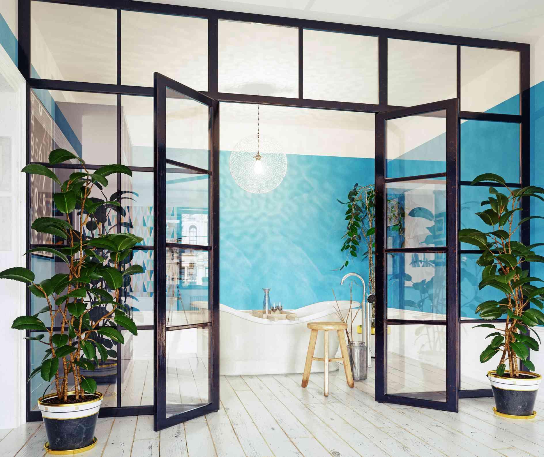 Industrial glass wall bathroom