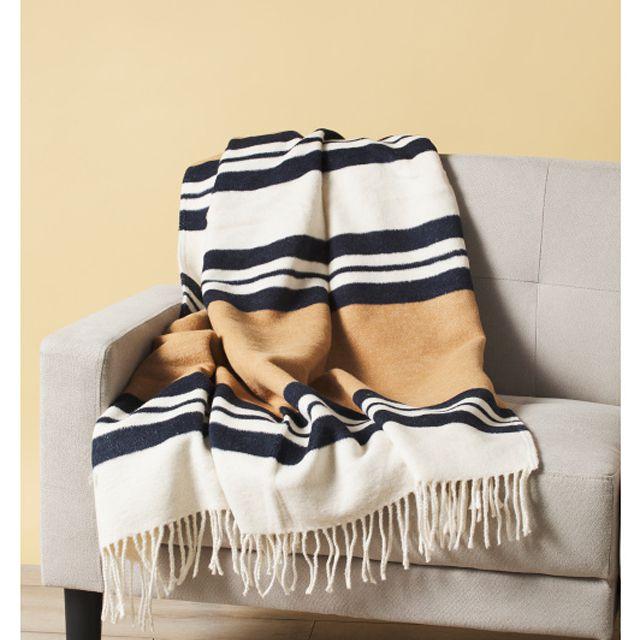 A black, tan, and cream striped throw blanket