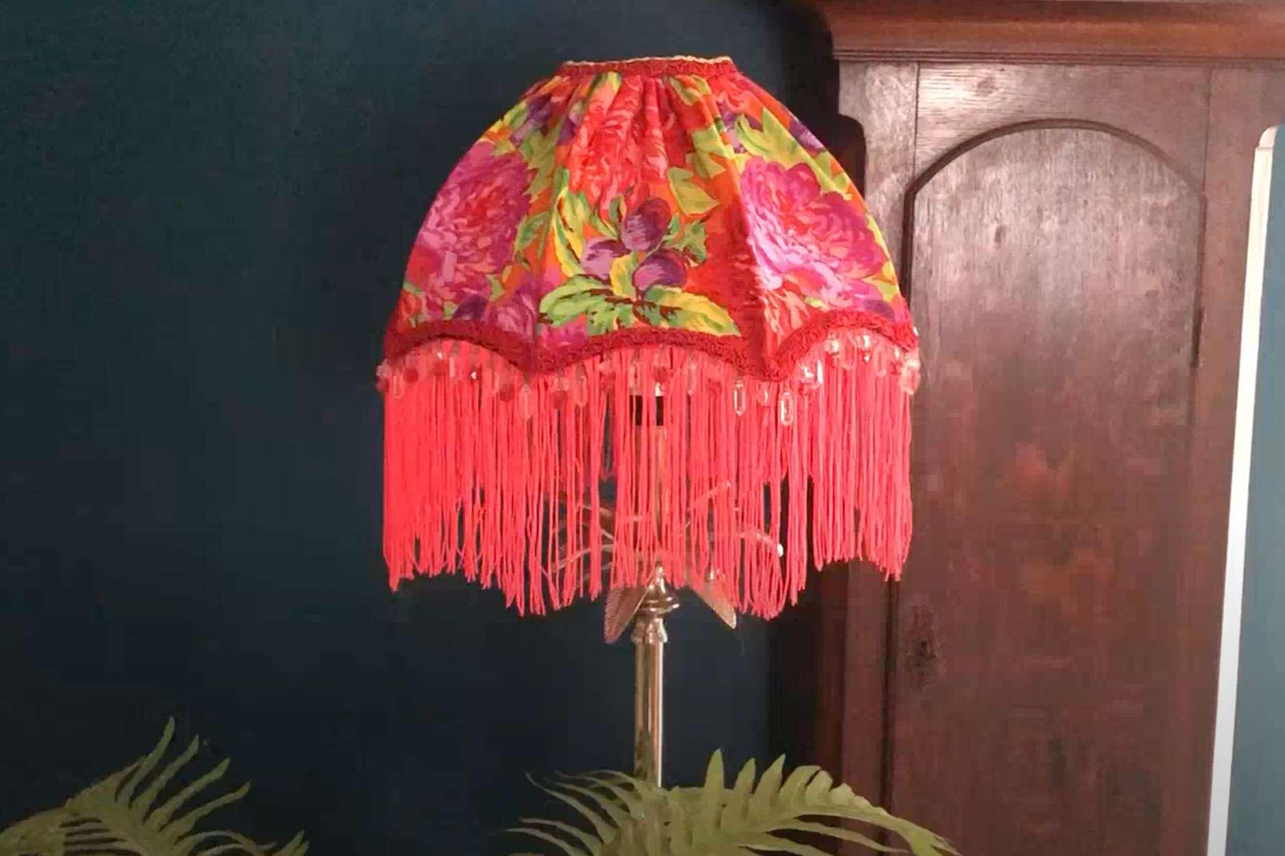 fabric and fringe lampshade