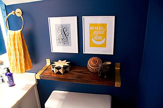 Glitter-and-Goat-Cheese-Bathroom-with-cobalt-walls-and -DIY-gold-wood-shelf.jpg