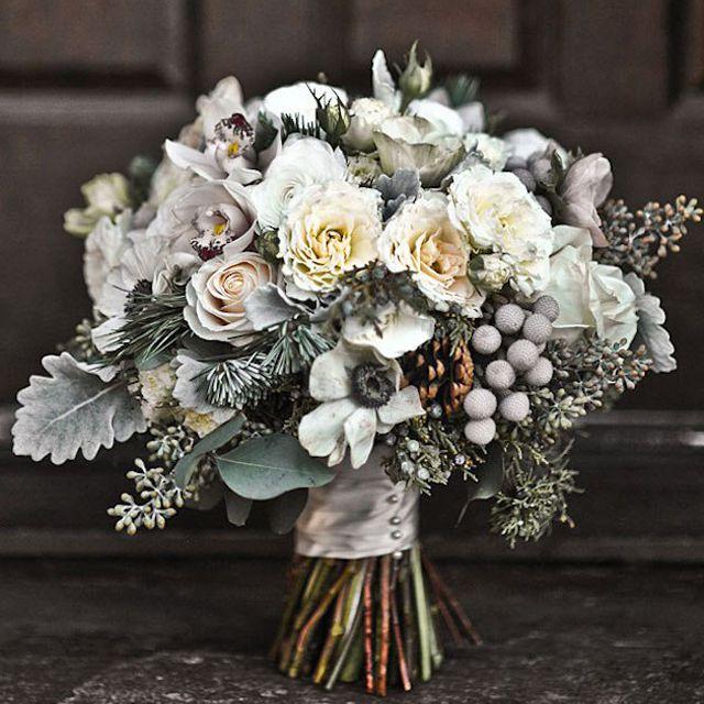 Anemone, Pinecone, and Evergreen Winter Wedding Bouquet