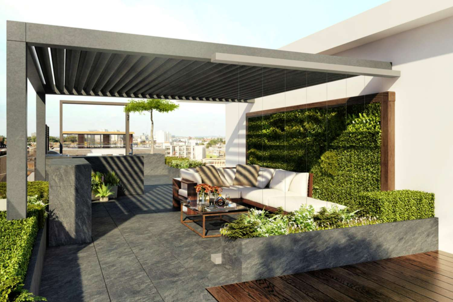 Green wall design in stone patio with canopy.