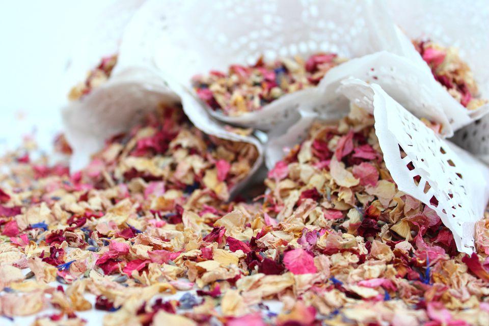 Natural biodegradable wedding confetti cones, dried delphinium / rose flower petals