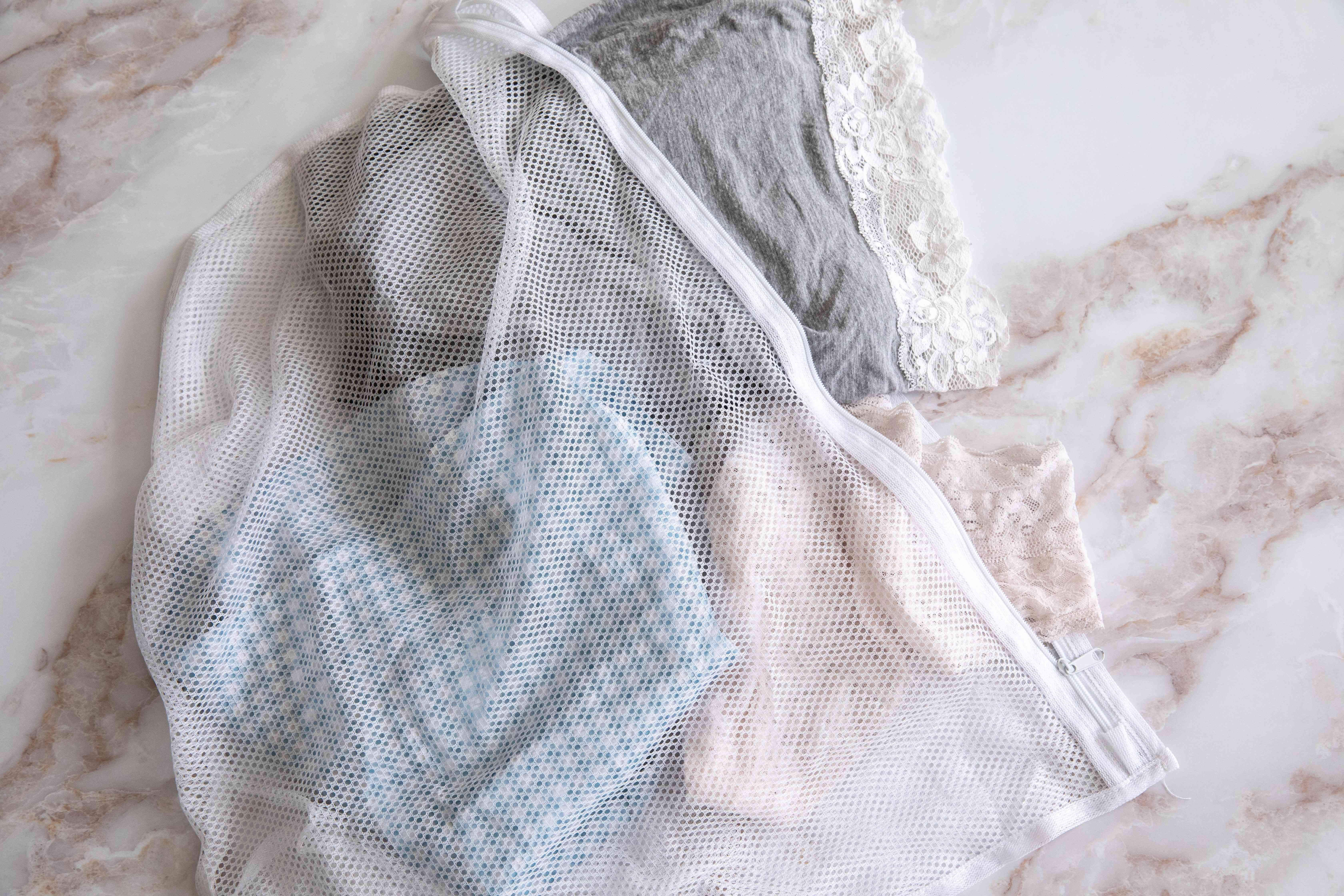 Mesh laundry bag with delicate underwear and clothing