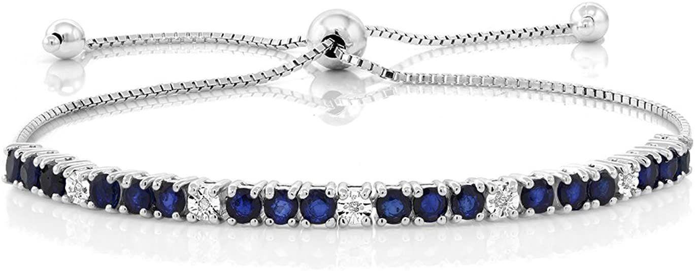 Gem Stone King Sterling Silver Blue Sapphire and White Diamond Tennis Bracelet