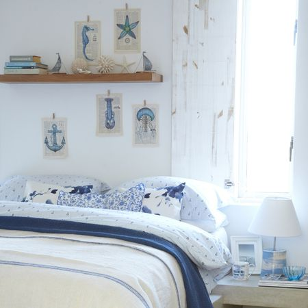 Blue And White Beach Cottage Bedroom