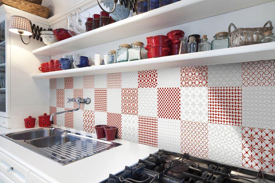 protector contra salpicaduras de cocina de mosaico