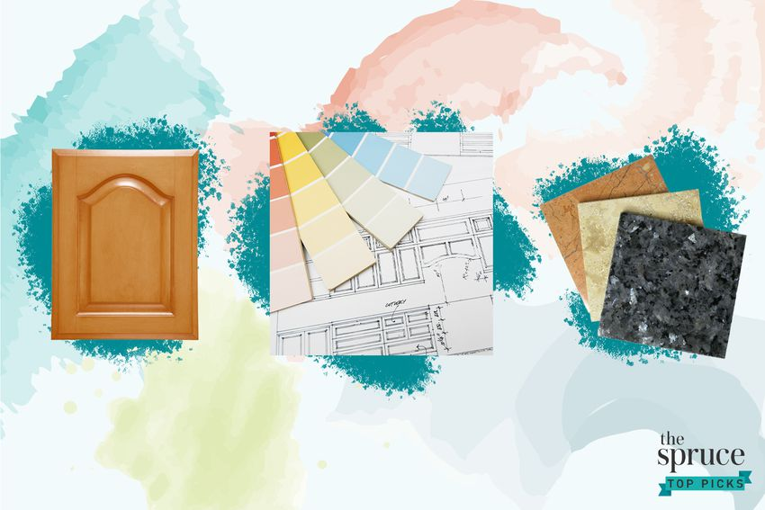 Photo composite of a kitchen cabinet, paint samples on a floor plan and various tiles over a multi-color watercolor background.