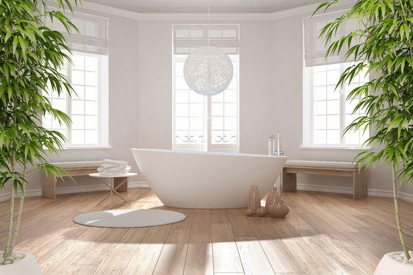 Garden tub in peaceful bathroom