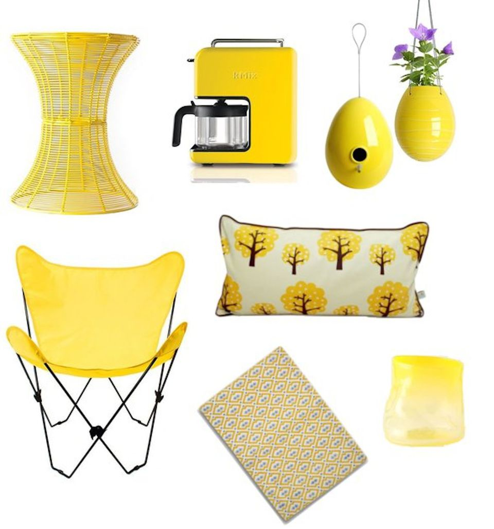 Different home decor items in yellow
