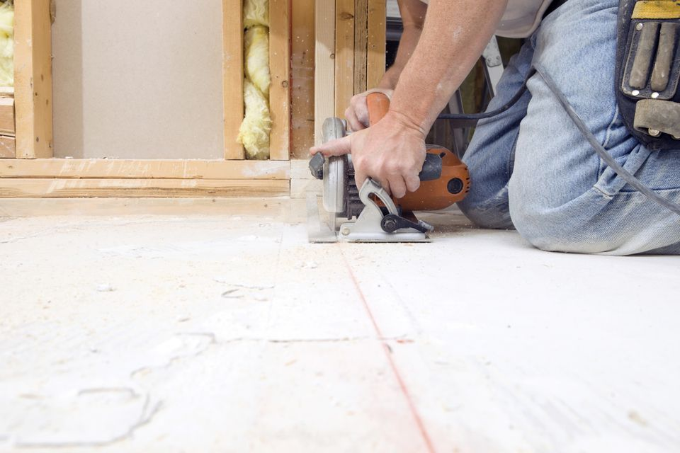Cutting a plywood subfloor with a circular saw