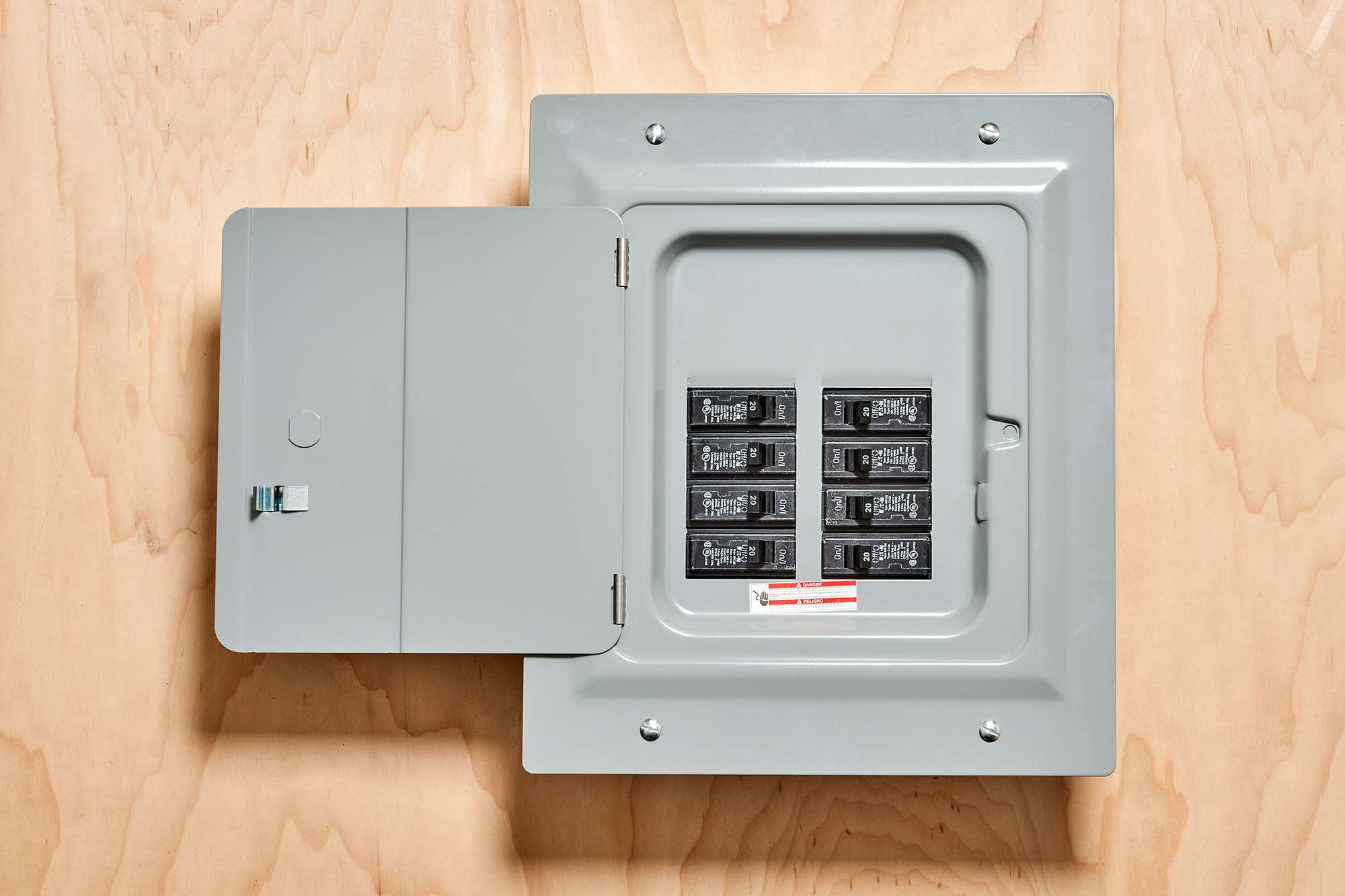 Secondary service panel with door opened showing branch circuit switches