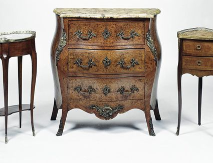 Antique Louis XV style bombe commode, corner table and gueridon
