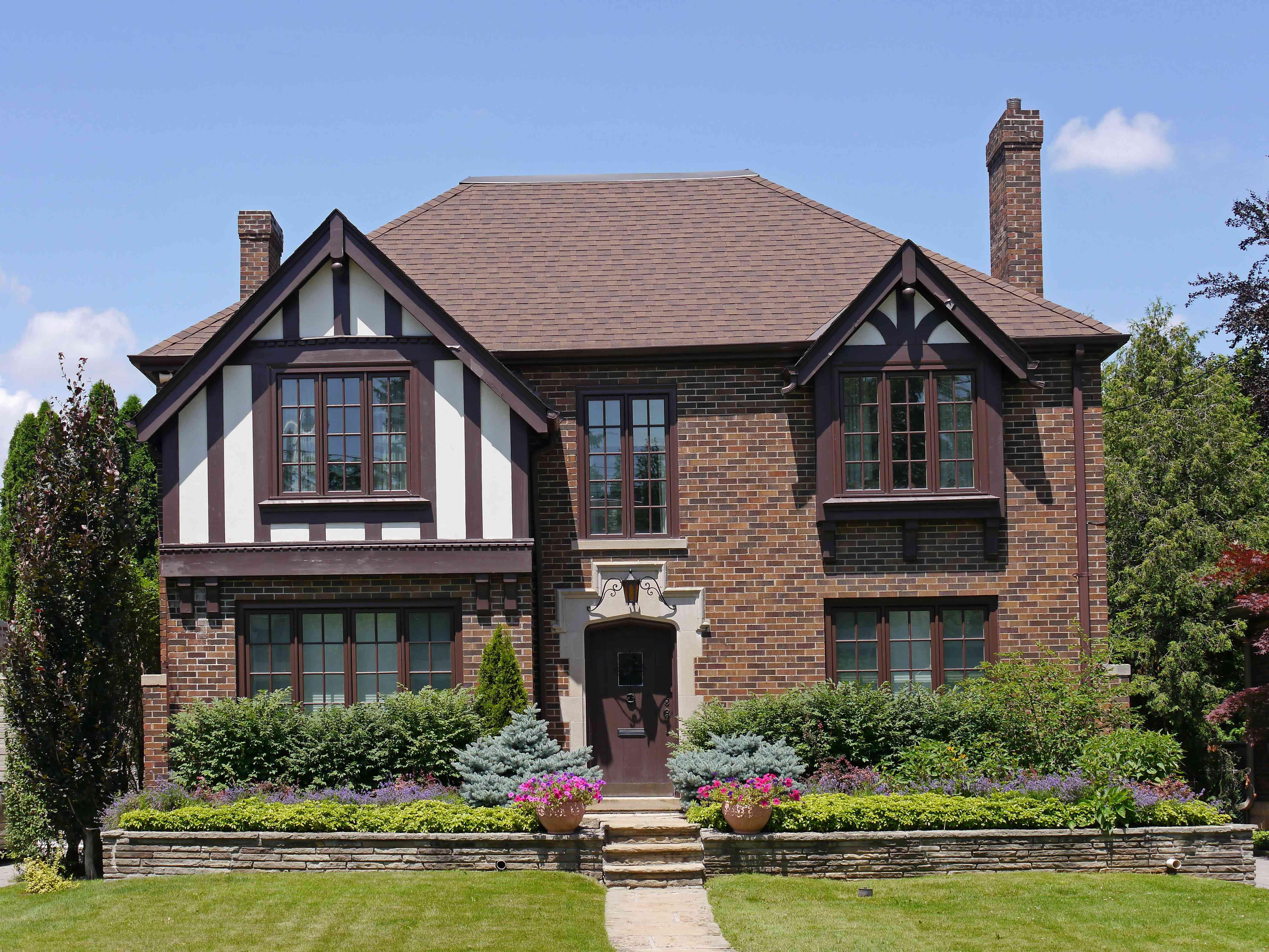 Tudor style brick house