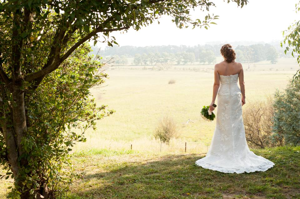 Bride standing alone overlooking field