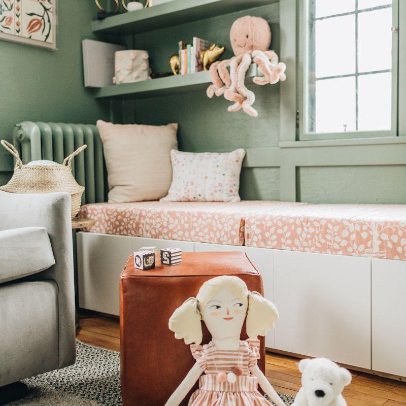 Sage green and peach girl nursery