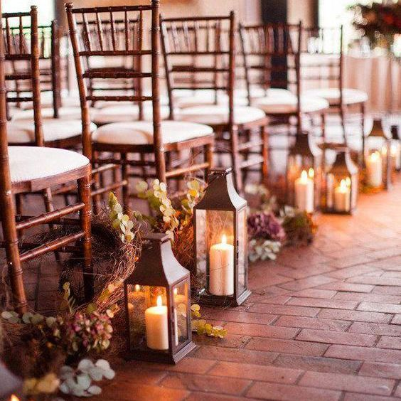 Chairs with lanterns on the ends