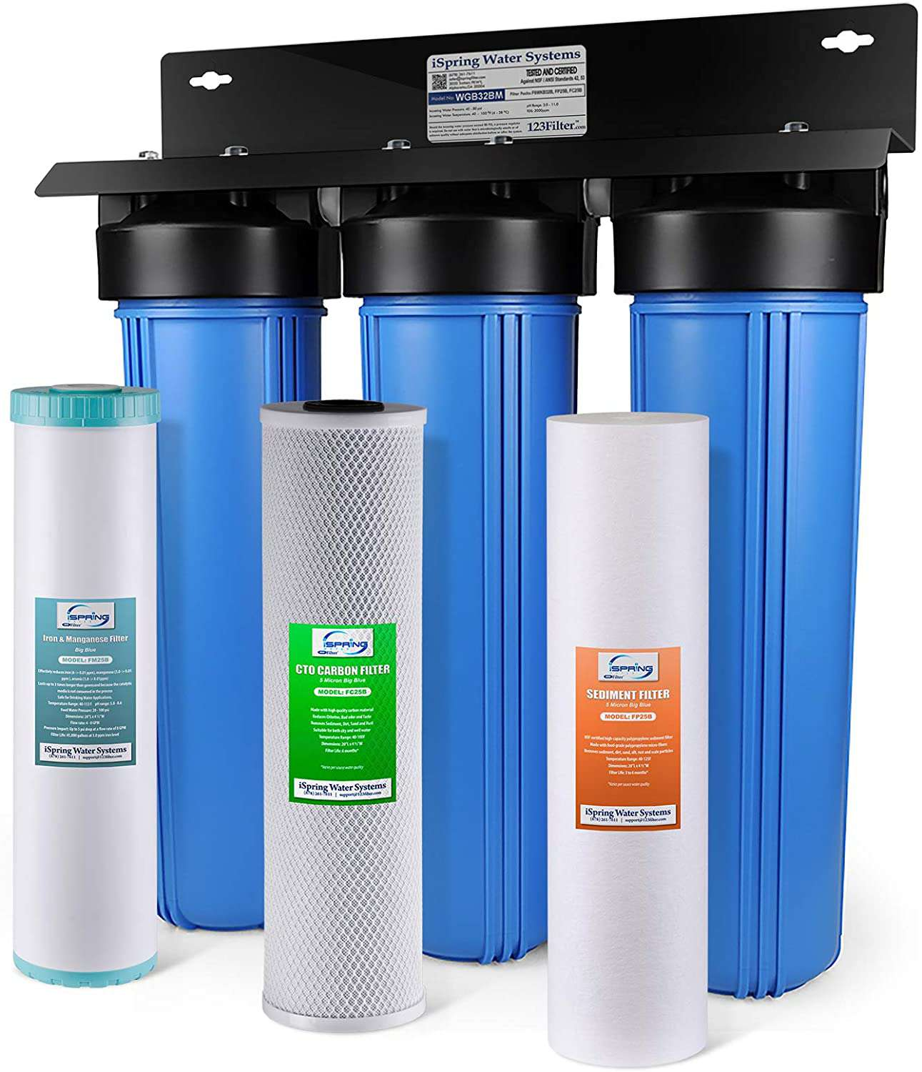 iSpring WGB32BM 3-Stage Big Blue Water Filter Triple-stage 15-GPM Mechanical Filtration Whole House Water Filtration System