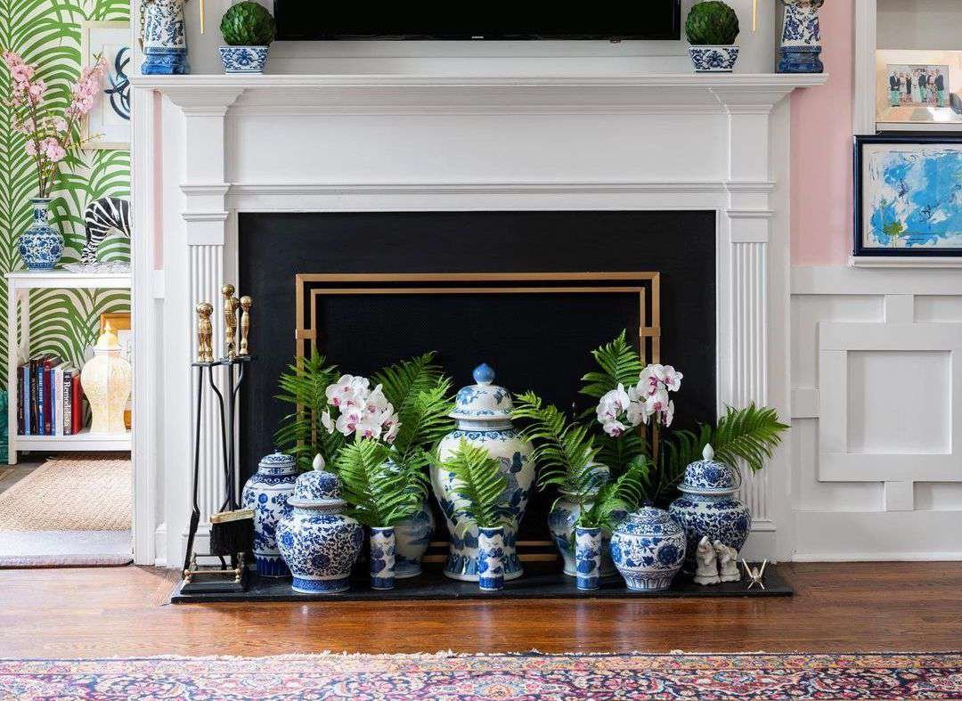 ginger jars in front of fireplace