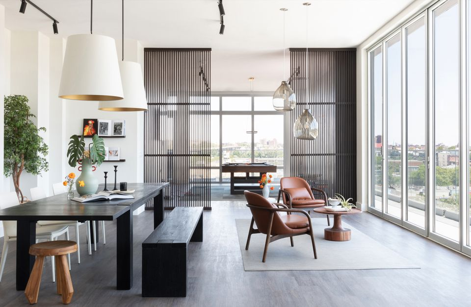 Dining room and seating area with varied lighting