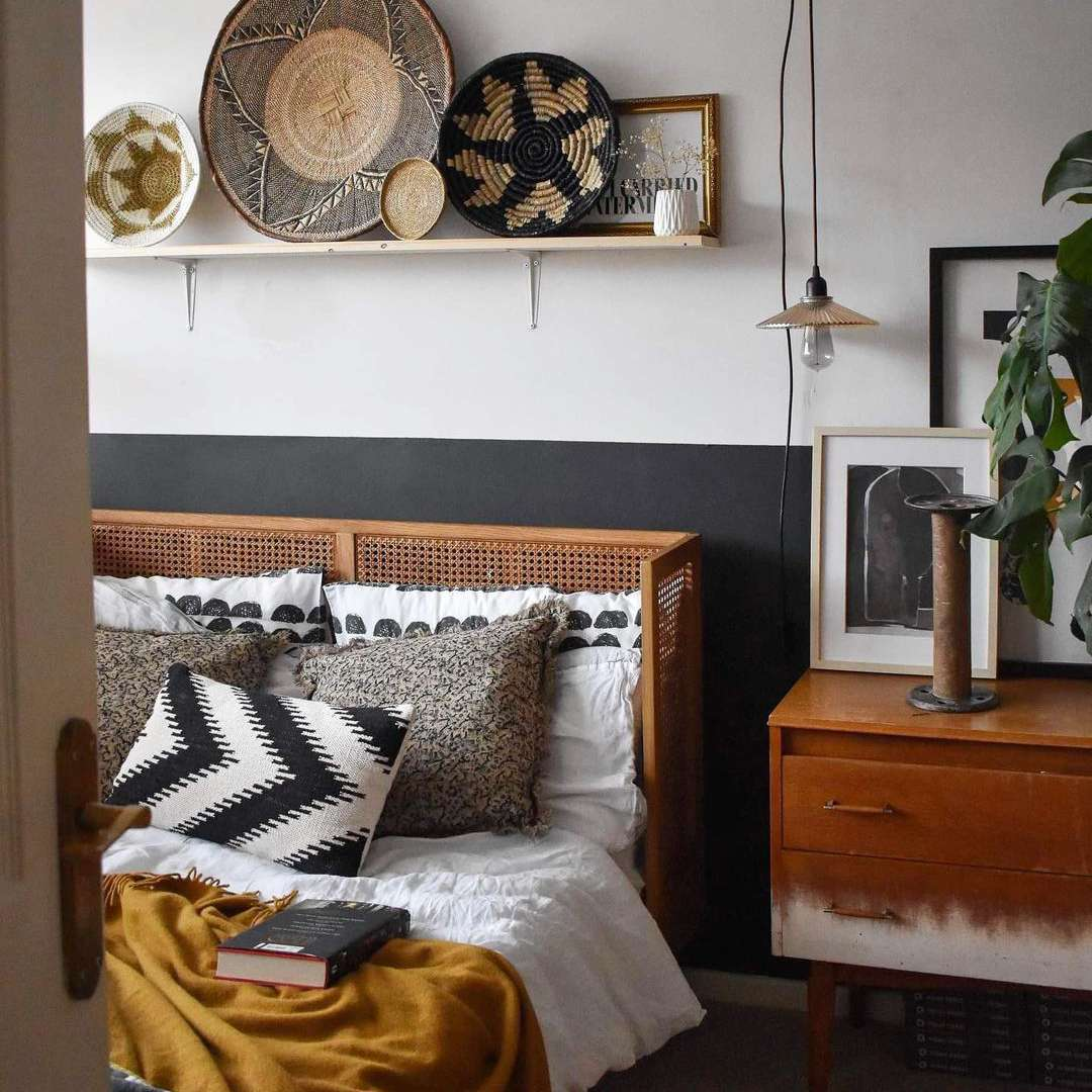 Bed with a shelf over it