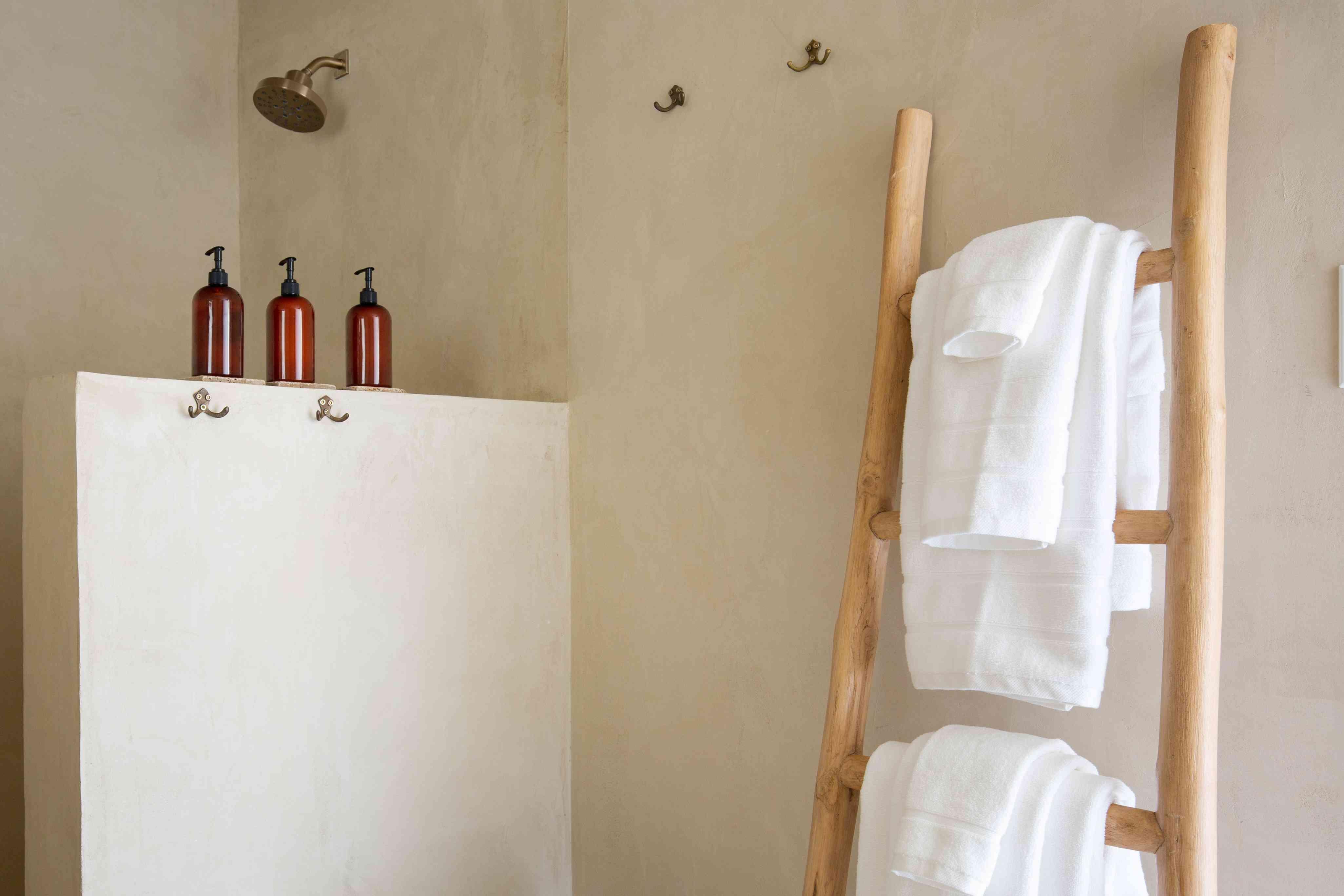 ladder holding towels