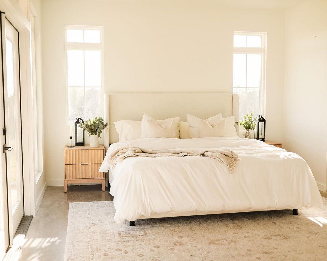 turkish rug in white bedroom