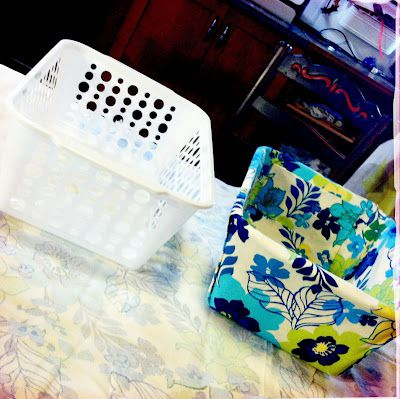 DIY fabric-covered bins