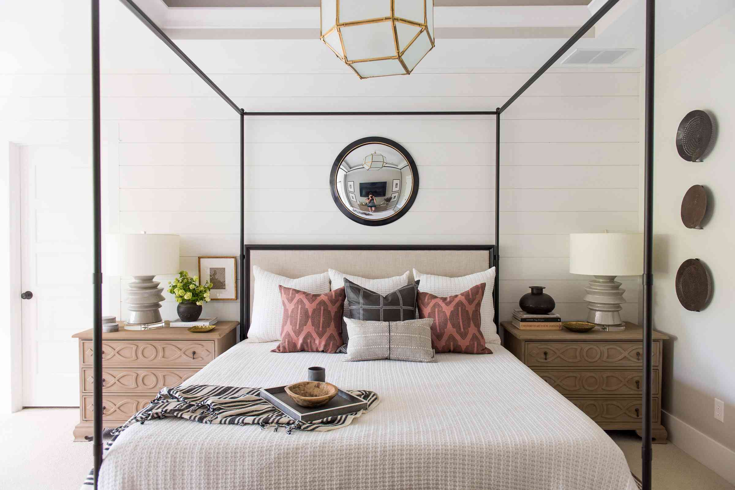 neutral bedroom with modern accents
