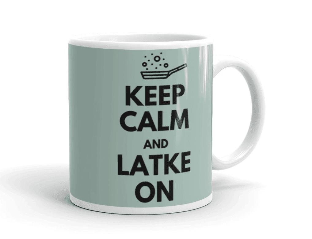 Candleschtick Keep Calm and Latke On Mug