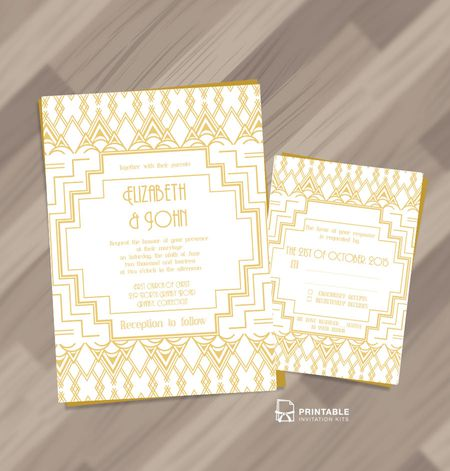 Art Deco Printable Wedding Invitation
