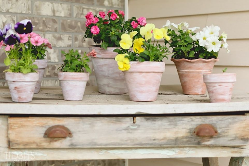 A collection of whitewashed flower pots