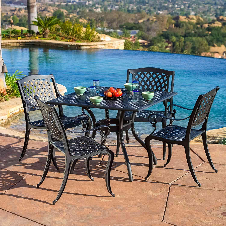 Christopher Knight Home Hallandale Cast Aluminum Outdoor Dining Set