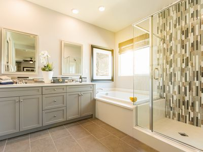 Master bathroom with ceramic shower and tub