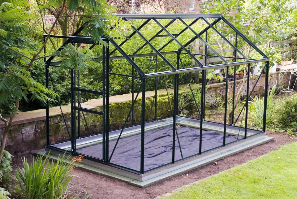 Glassless Greenhouse Frame on Foundation with Weed Control Fabric, UK