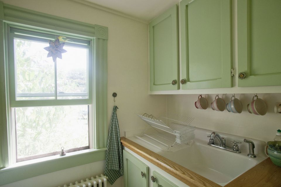 Mint green small Kitchen in a vacation cottage