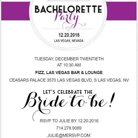 A purple, black, and white bachelorette party invite.