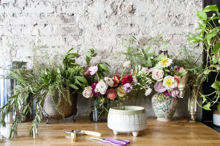 Gathering materials for flower arranging