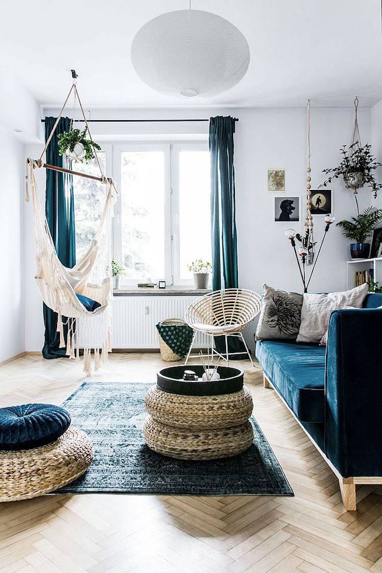 Living space with blue accents