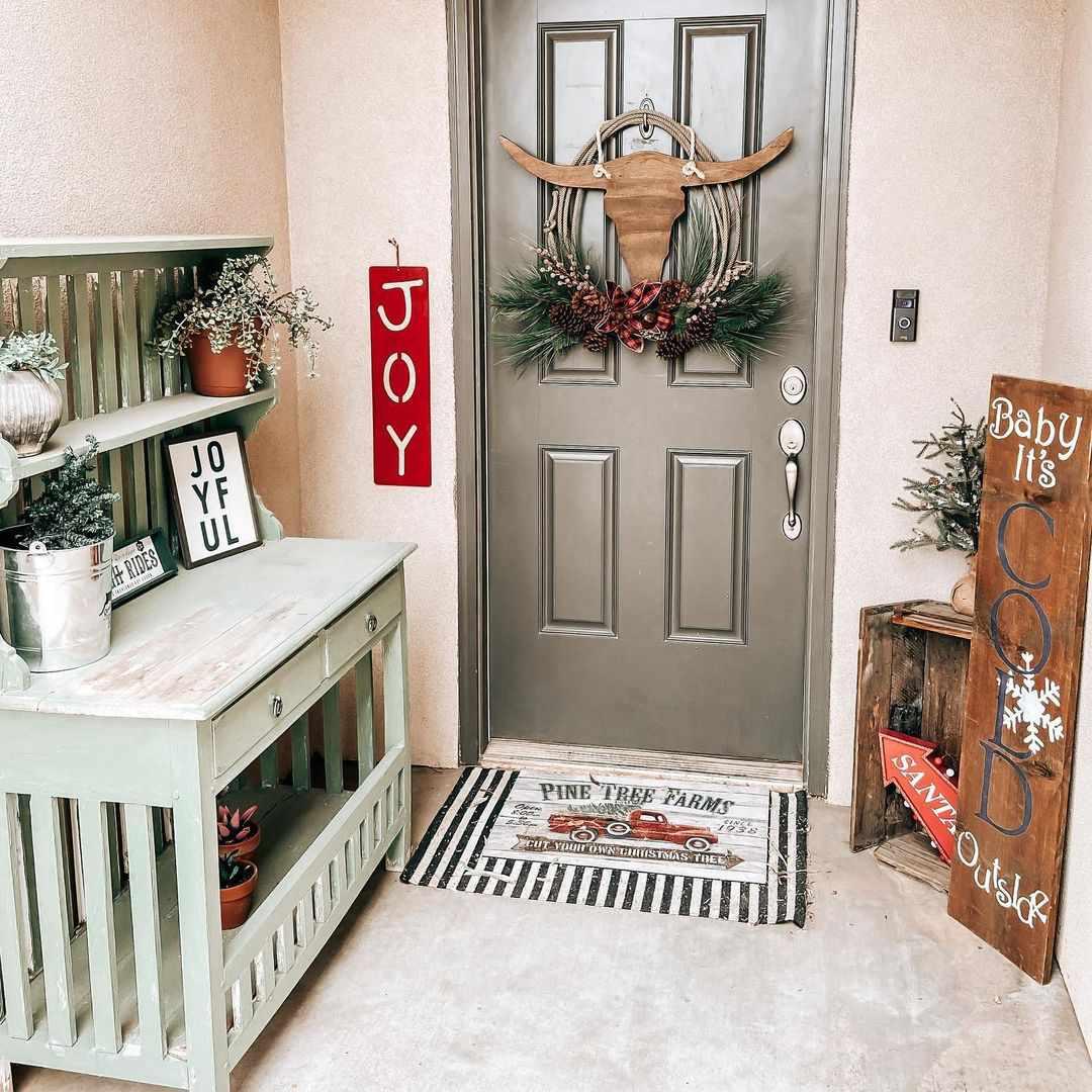 Door with Christmas decor