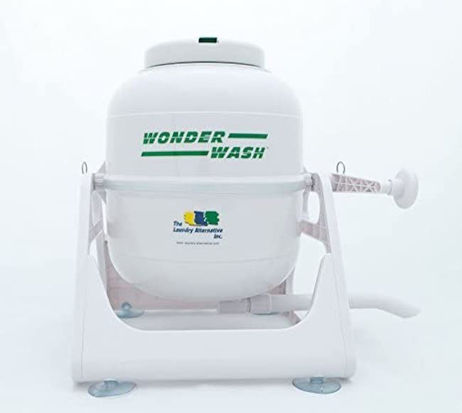 The Laundry Alternative Wonderwash 0.7 cu.ft. High Efficiency Portable Washer is non-electric and powered via a hand crank.