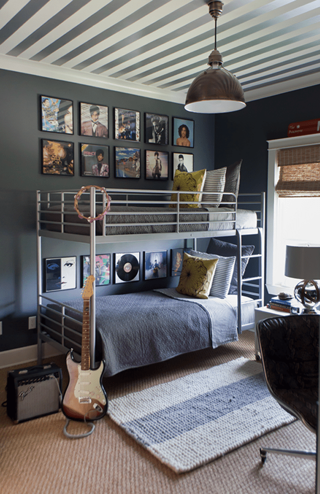 Grey and white striped teen room