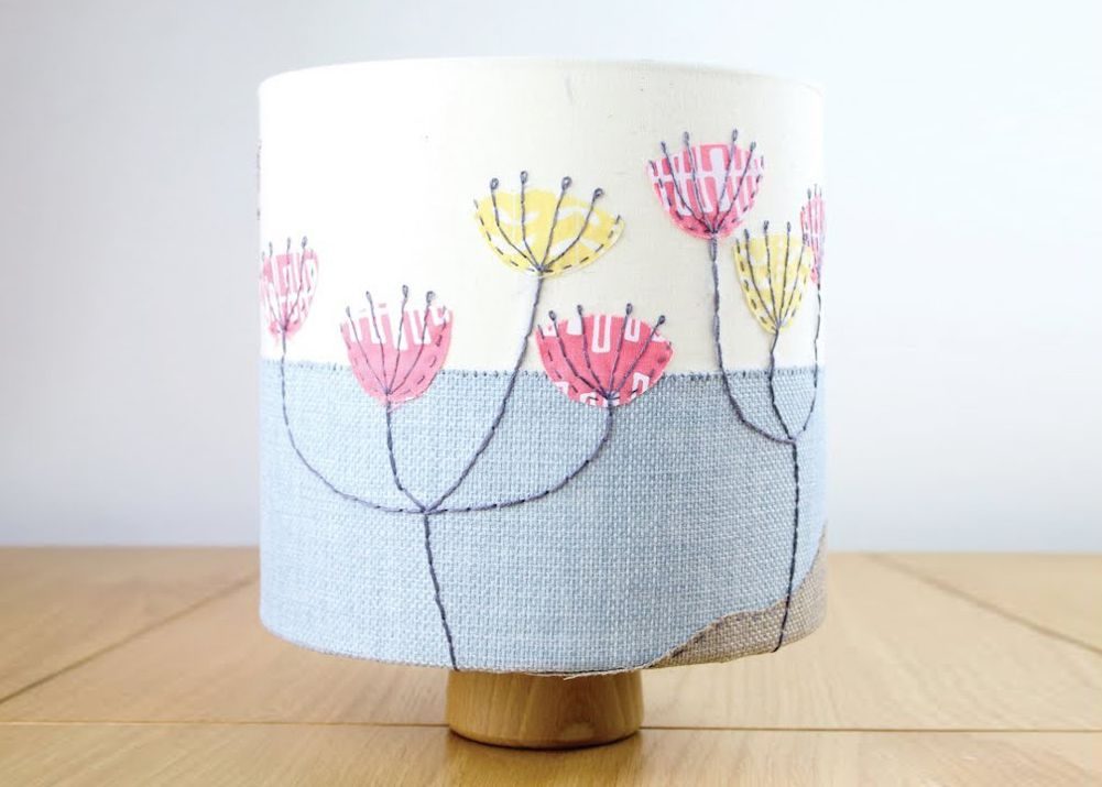 Embroidered lampshade DIY