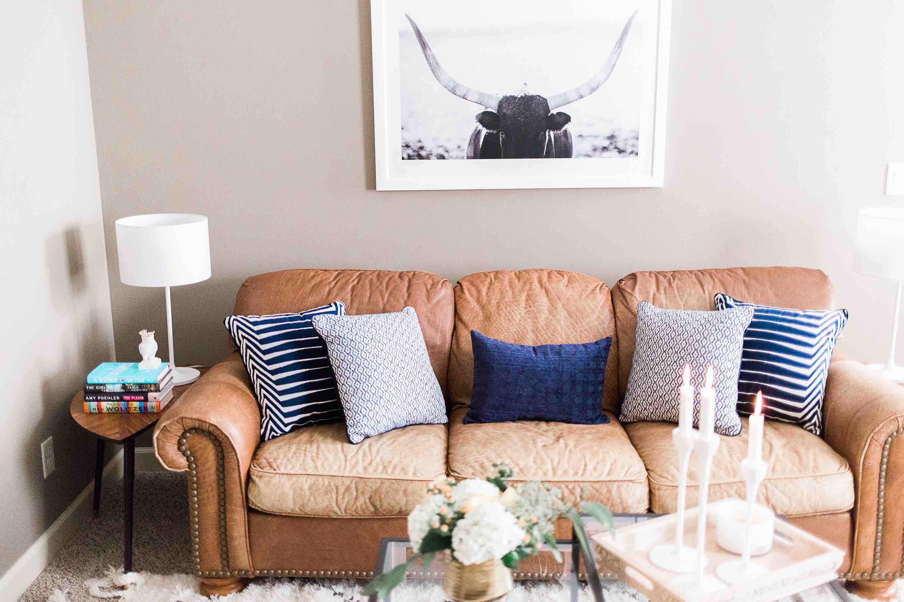 casual living room makeover with leather sofa
