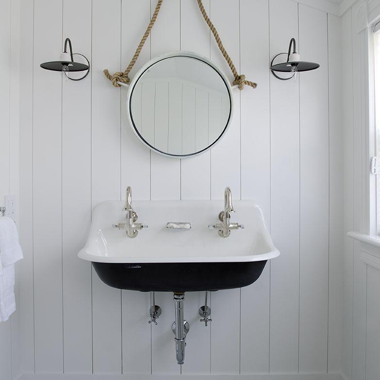 Attic Bathroom with beadboard walls