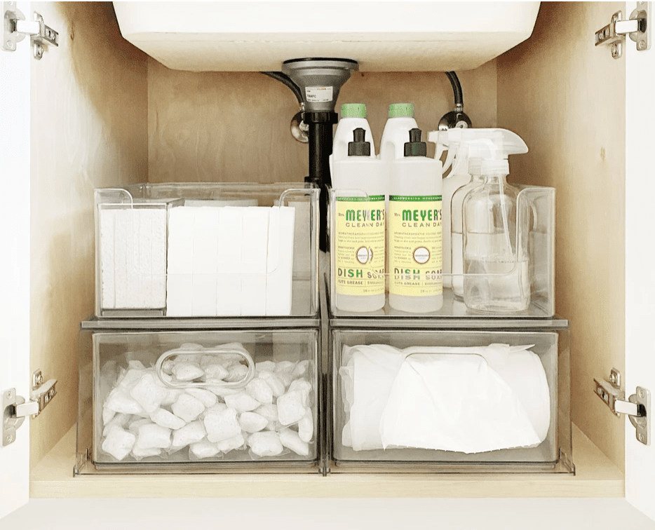 Clear drawers for garbage bags