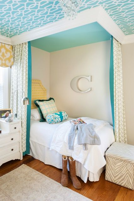 Canopy bed with faux built-in look