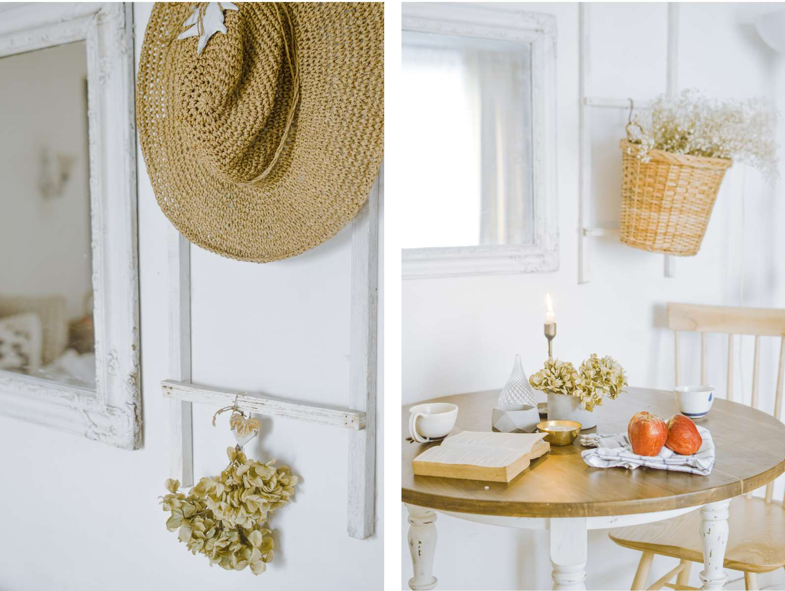 ladders on walls with decor hanging from them