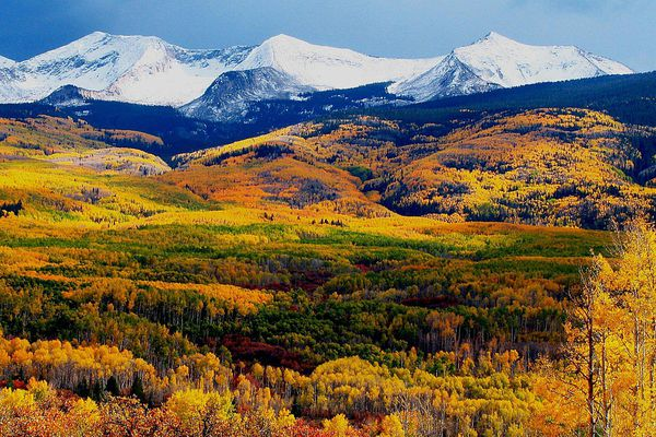 A mountain range in autumn
